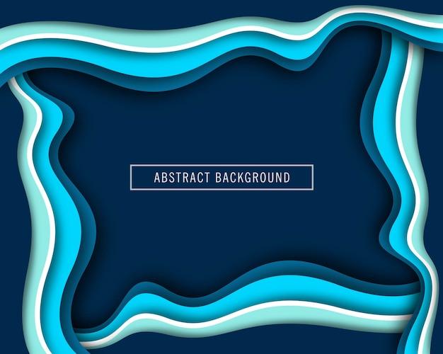 美しい波の青い紙カットデザインベクトル 無料ベクター