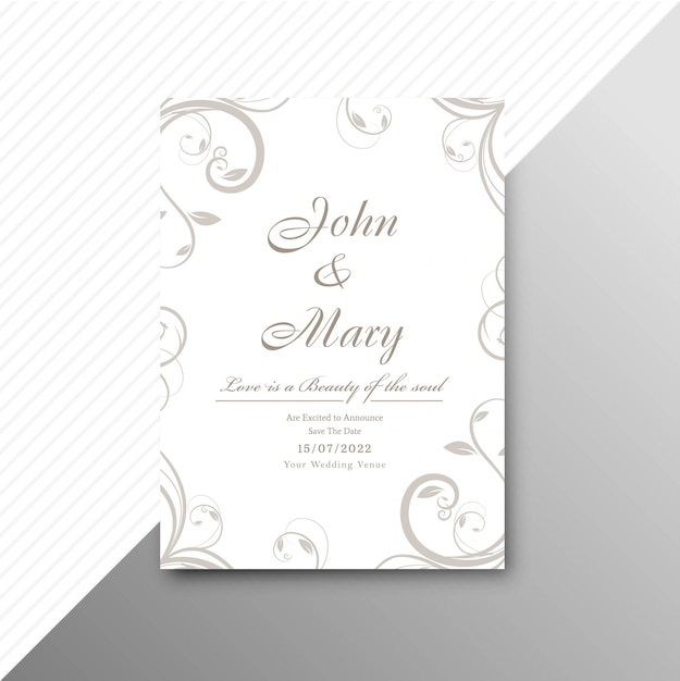 装飾的な花の背景イラストで結婚式の招待状のカードテンプレート 無料ベクター