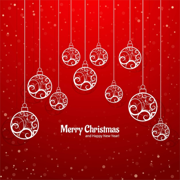 エレガントなカラフルなメリークリスマスボールグリーティングカードの背景ベクトル 無料ベクター