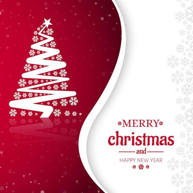 メリークリスマスツリー祝賀グリーティングカードデザイン 無料ベクター