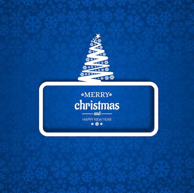 メリークリスマスツリーカード、雪片の背景 無料ベクター