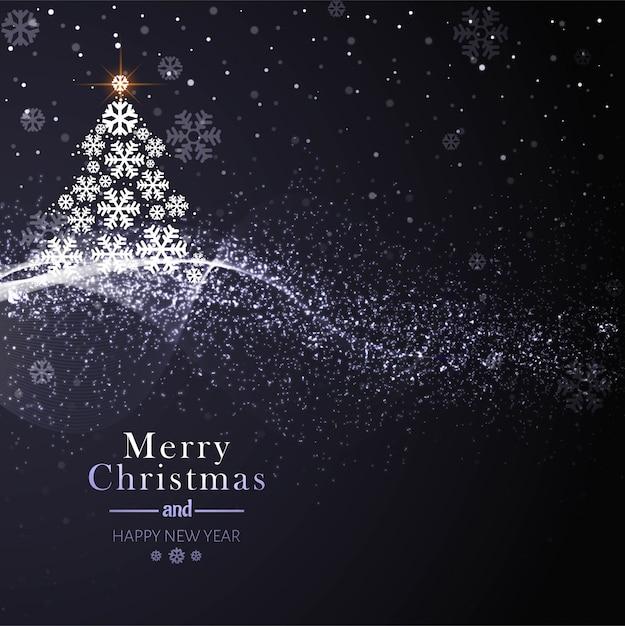 Красивая рождественская открытка с деревом Бесплатные векторы