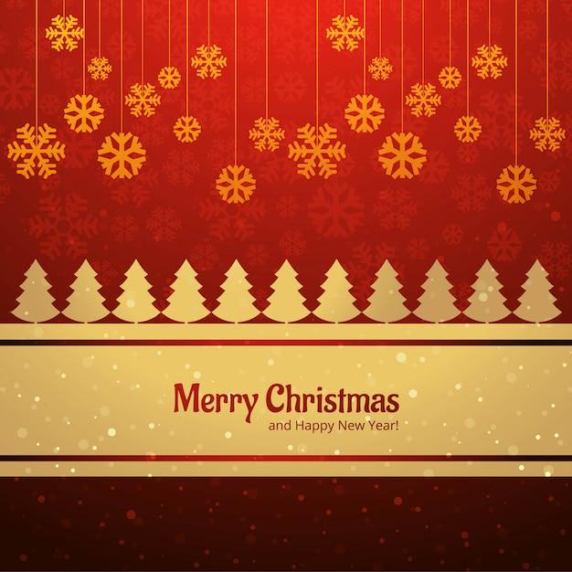 スノーフレークの背景ベクトルとメリークリスマスカードツリー 無料ベクター