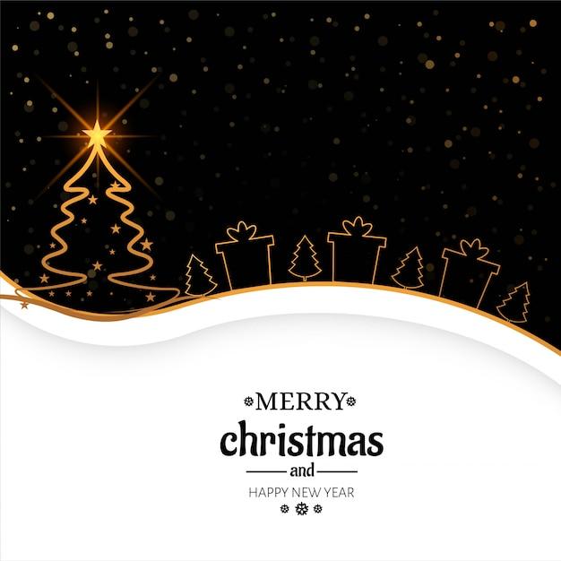 エレガントなメリークリスマスの背景カードのベクトル 無料ベクター