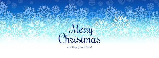 エレガントなメリークリスマススノーフレークカードバナーデザイン 無料ベクター