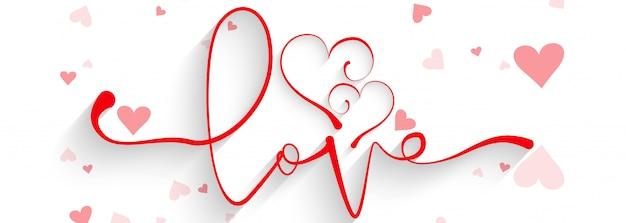 バレンタインの日カラフルハートカードヘッダー Premiumベクター