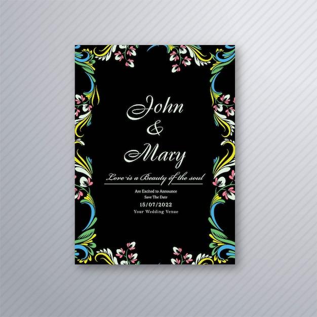 装飾的な花の結婚式の招待状カードデザインのベクトル 無料ベクター