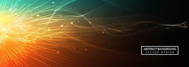 抽象的なカラフルな輝く波の背景のベクトル 無料ベクター