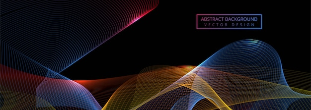 Красивые блестящие красочные волны баннер шаблон Бесплатные векторы