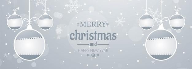 メリークリスマス雪片バナー 無料ベクター