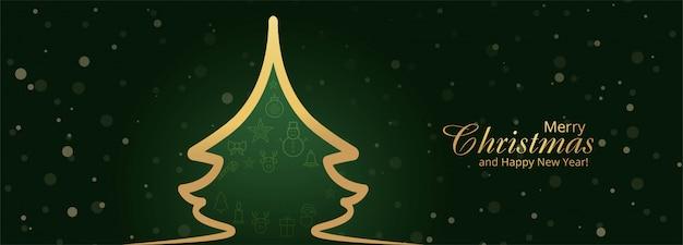 装飾品でクリスマスバナーテンプレート 無料ベクター