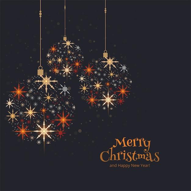 カラフルなクリスマスボールの背景を持つヴィンテージのカード 無料ベクター