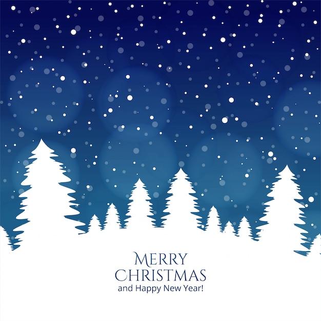 メリークリスマスツリーと幸せな新年のお祝いカード 無料ベクター