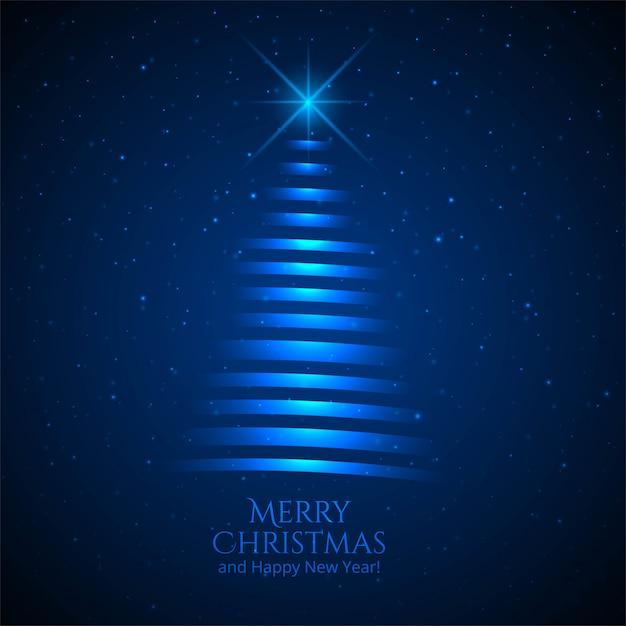 クリスマスツリーカード青背景 無料ベクター