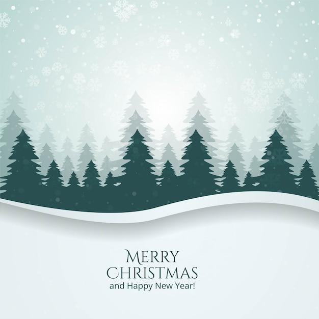 Зимний сезон пейзаж с елкой и снегом векторный фон Бесплатные векторы