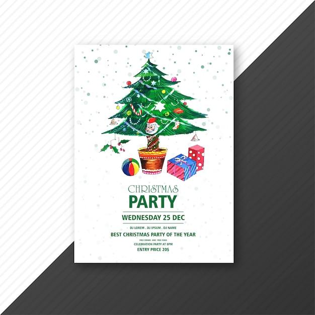 Зеленая рождественская елка с рождественской вечеринкой Бесплатные векторы