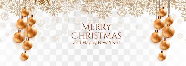 スタイリッシュなゴールデンクリスマスボールと雪片バナー 無料ベクター