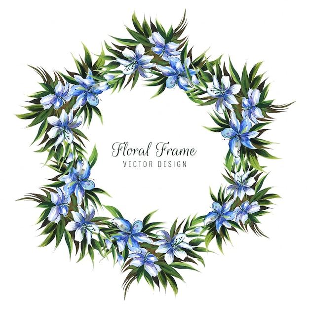 手描きの結婚式のカラフルな装飾的な花カード 無料ベクター