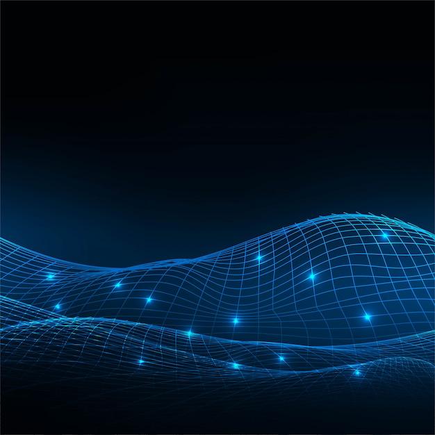 抽象的なテクノロジーワイヤーウェーブブルーの背景 無料ベクター