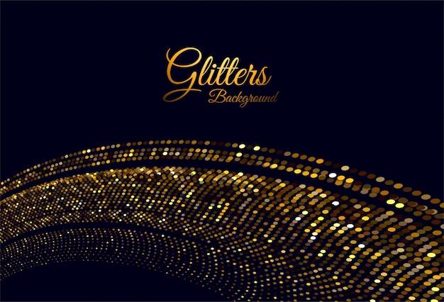 Абстрактные золотые блестит стильная волна на черном Бесплатные векторы