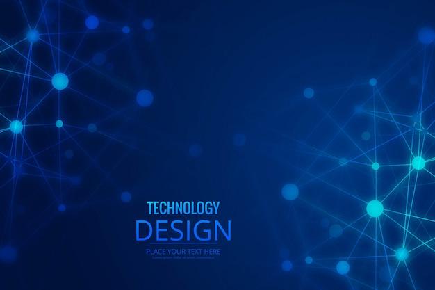 抽象的なテクノロジーワイヤポリゴン背景 無料ベクター