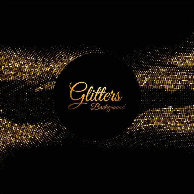 黒の背景に抽象的な光沢のある黄金の輝き 無料ベクター