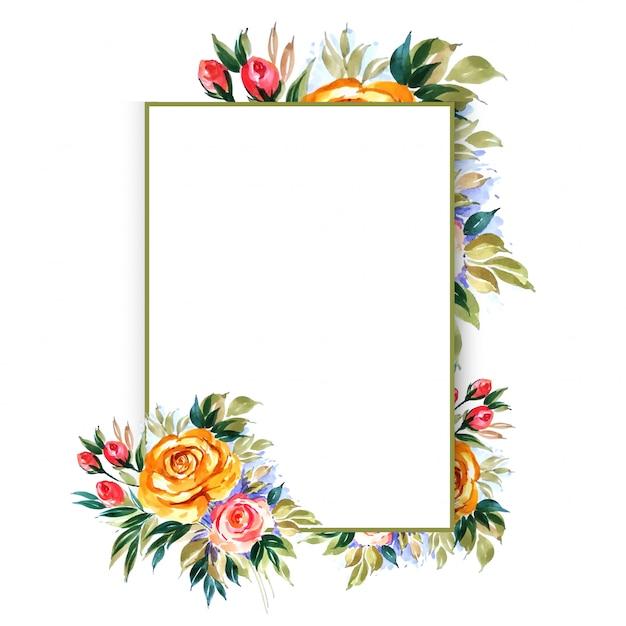 美しい手描きの花のウェディングカードテンプレート 無料ベクター