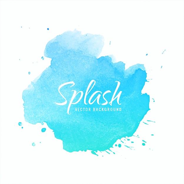 Голубая акварель фон рука краска всплеск дизайн Бесплатные векторы