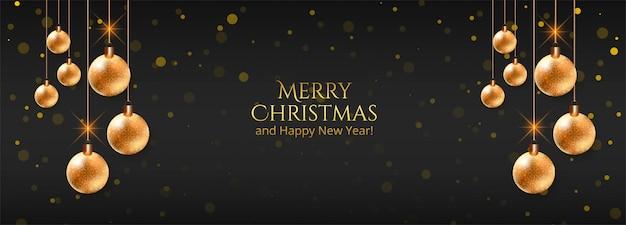 黒い旗のエレガントなクリスマス装飾ボール 無料ベクター