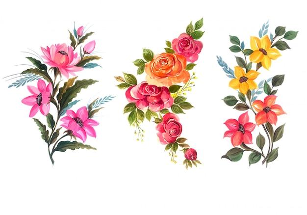 Красивый букет цветочный набор векторные иллюстрации Бесплатные векторы