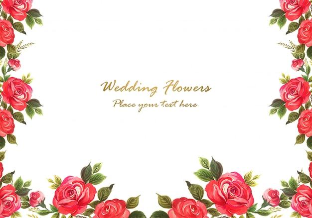 結婚式招待状水彩花カード背景 無料ベクター