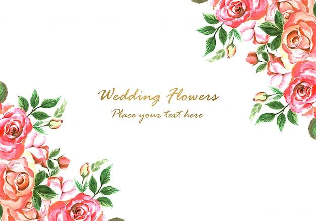 結婚式招待状装飾花カードデザイン 無料ベクター