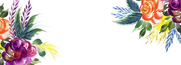 Элегантные красочные цветы творческий баннер фон Бесплатные векторы