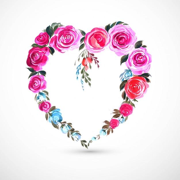 美しい装飾花ハートカード 無料ベクター