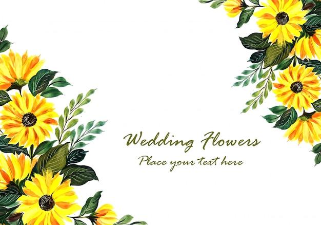 結婚式の装飾的な黄色の花のフレーム 無料ベクター