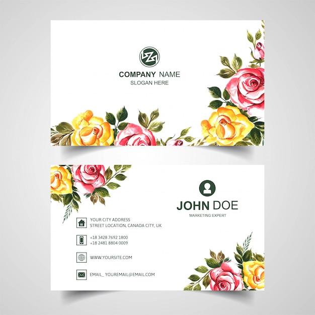 Красивый акварельный цветок на шаблоне визитной карточки Бесплатные векторы
