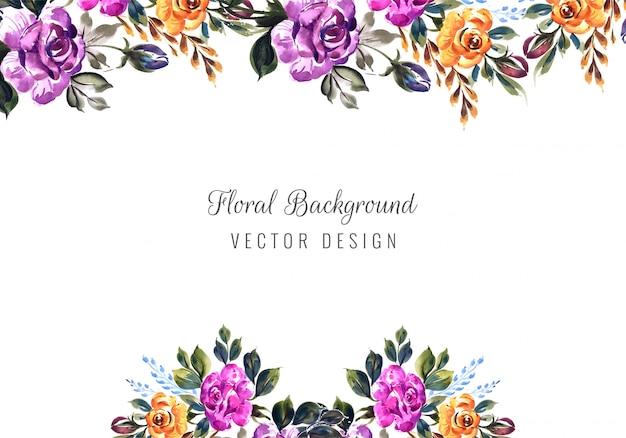 Романтическое свадебное приглашение с красочными цветами шаблон карты Бесплатные векторы