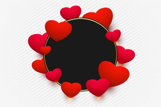 Элегантная блестящая сердечная рамка на день святого валентина Бесплатные векторы