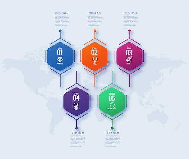 Геометрическая инфографика бизнес концепции дизайна Бесплатные векторы