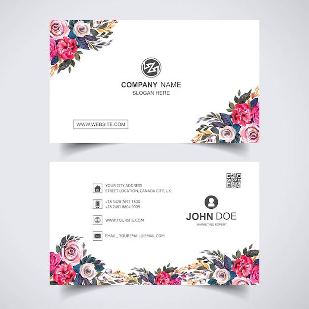Креативный акварель цветок с шаблоном визитной карточки Бесплатные векторы