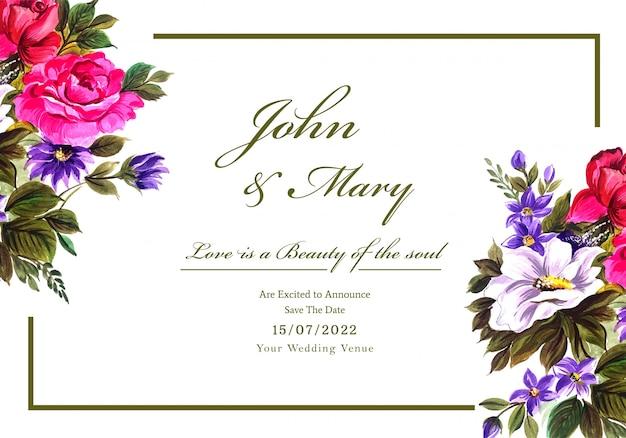 色とりどりの花カードでロマンチックな結婚式の招待状 無料ベクター