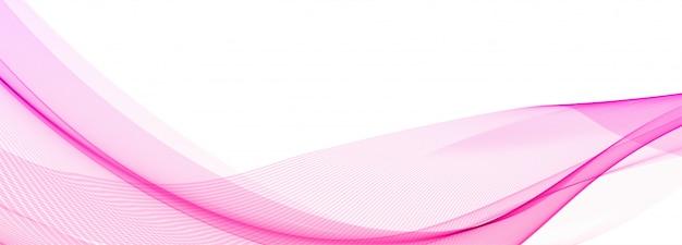 白い背景の上の抽象的な創造的なピンク波バナー 無料ベクター