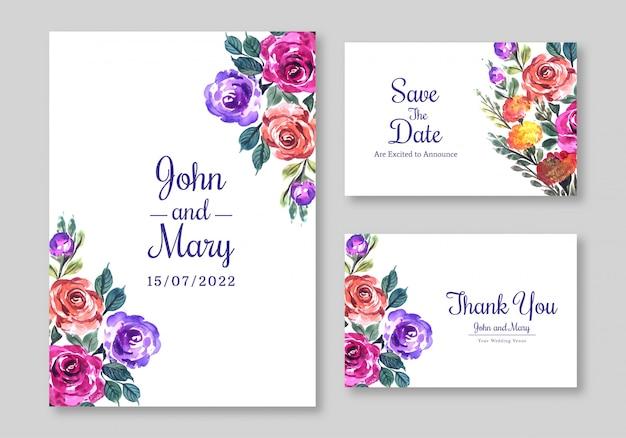 花のデザインの結婚式の招待カードのテンプレート 無料ベクター