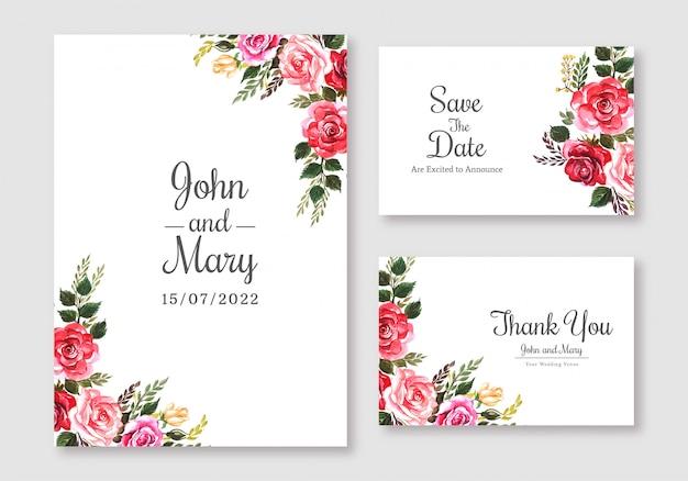 結婚式の花のカラフルなカードセットテンプレートの背景 無料ベクター
