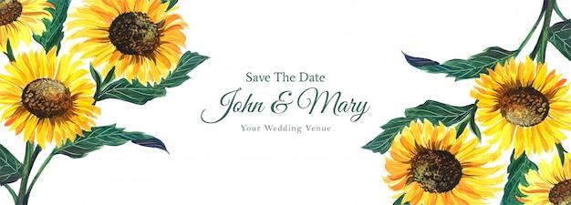 水彩風のカラフルな花の結婚式のバナー 無料ベクター