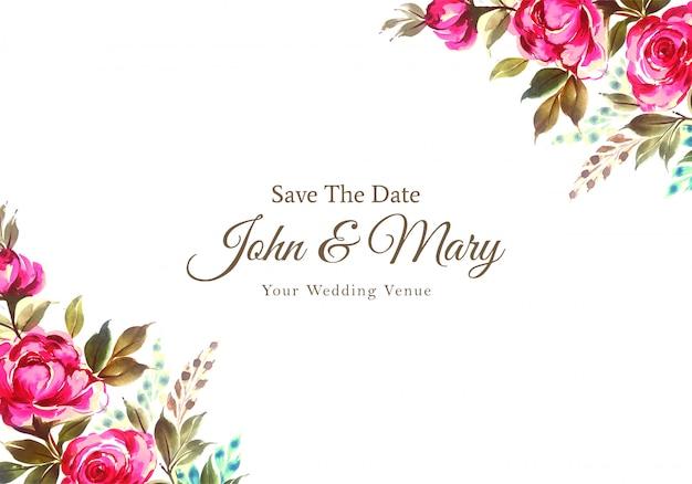結婚式招待状水彩装飾花カード 無料ベクター