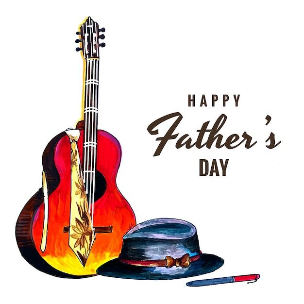 Красивая открытка на счастливый день отца Бесплатные векторы