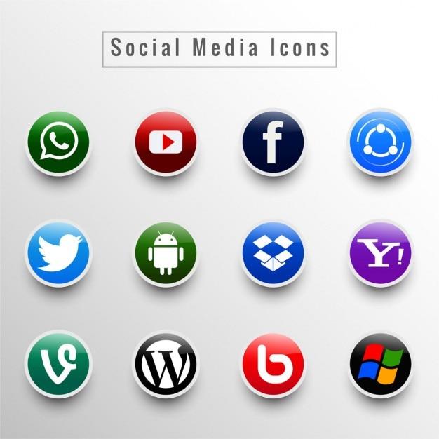 ソーシャルメディアのアイコンセット 無料ベクター