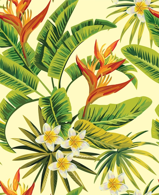 Тропическая плюмерия экзотические цветы шаблон Premium векторы