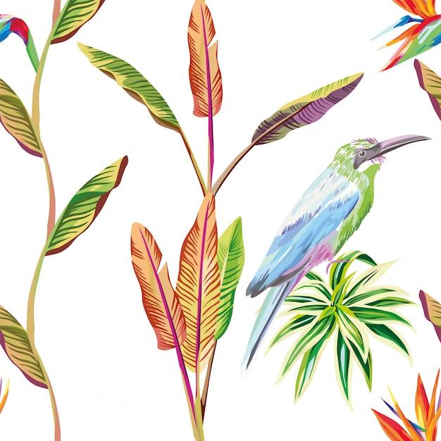 Бесшовные обои композиция из тропических листьев цветов и птиц Premium векторы